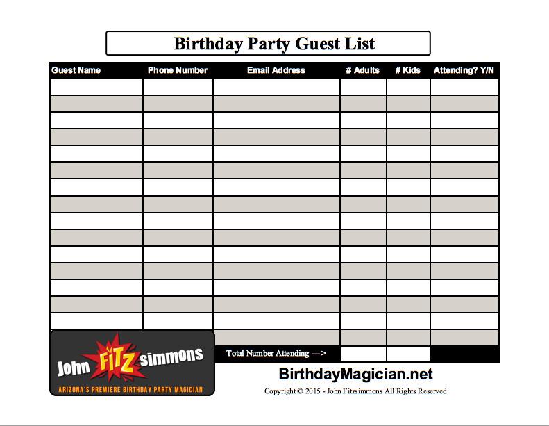 Birthday Party Planning Guestlist - BirthdayMagician.net